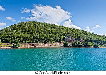 View of Hassel Island - abandoned slipway, rails, and Head House of the St. Thomas Marine Railway on the Hassel Island - built in 1868.