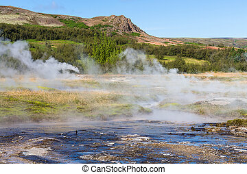 view of Haukadalur geyser valley in Iceland