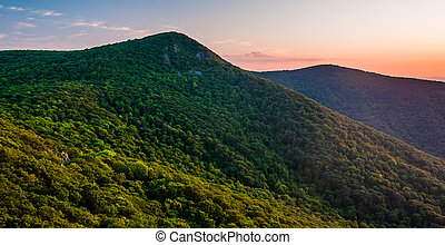 View of Hawksbill Mountain at sunset, from Crescent Rock ...