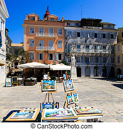 View of Heroes of Cypriot Struggle Square, Corfu, Greece