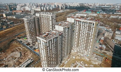 View of high-rise apartment buildings - Amazing drone view...