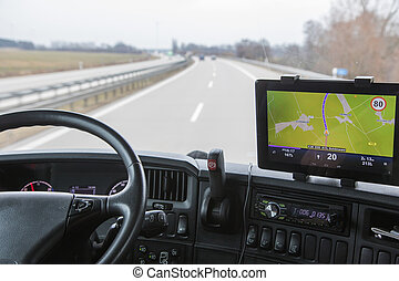 View of highway traffic from the truck - View of highway...
