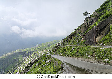 View of Himalayan mountain road