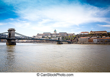 view of historic architectural in Budapest from Danube