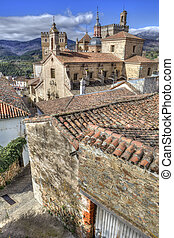 View of historic building roofs of Guadalupe town, Spain