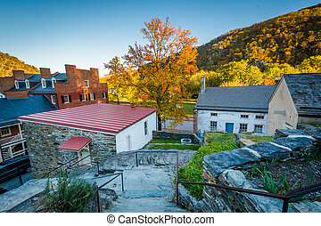 View of historic buildings and autumn color in Harpers Ferry, West Virginia.