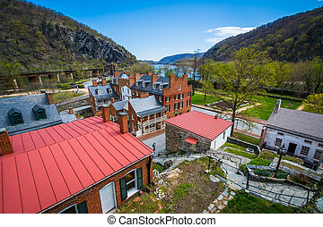 View of historic buildings in Harpers Ferry, West Virginia.