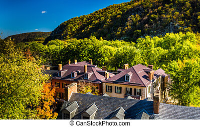 View of historic buildings on Shenandoah Street in Harpers Ferry, West Virginia.