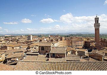 View of historic city of Siena, Tuscany, Italy