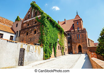 view of historical buildings in polish medieval town Torun...