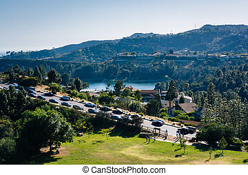 View of Hollywood Reservoir, and Canyon Lake Drive in Los Angele