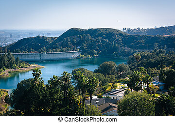 View of Hollywood Reservoir, in Los Angeles, California.