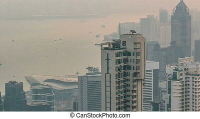 View of Hong Kong from Victoria peak in a foggy morning...