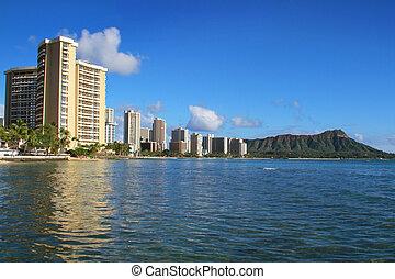 View of Honolulu city, Waikiki Beach, Hawaii