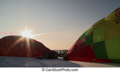 View of hot air balloons preparing for flight