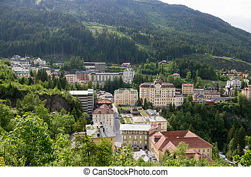View of hotels in the austrian spa and ski resort bad gastein.