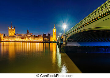 View of Houses of Parliament at night