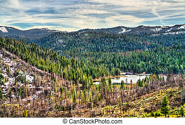 View of Hume Lake within Sequoia National Forest in California