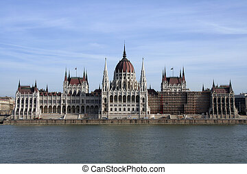 View of Hungarian Parliament across the Danube river in Budapest