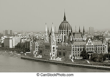 View of Hungarian parliament building with Danube river