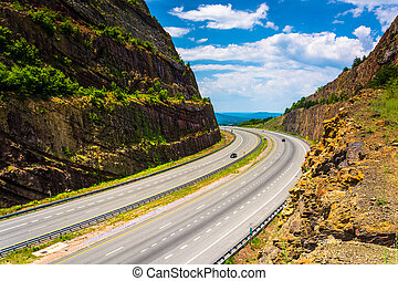 View of I-68 from a an overlook at Sideling Hill, Maryland....
