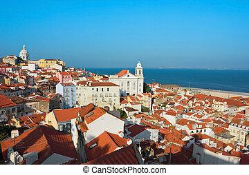 View of Igreja de Santo Estevao in Alfama Lisbon - Panoramic...