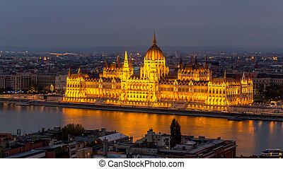 View of illuminated Parliament building in Budapest