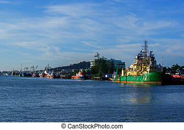 View of industrial ships in the port of Songkhla Lake near by Nang ngam road in the southern sea of Thailand
