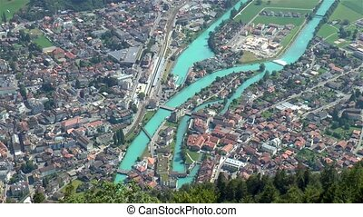 High angle view of the popular town of Interlaken, Interlaken-Oberhasli, Switzerland.