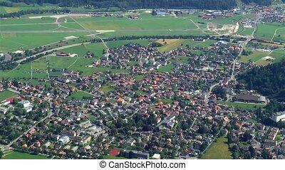 High angle view of the popular town of Interlaken, Matten bei Interlaken, Switzerland.