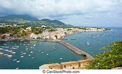 view of Ischia Ponte, Ischia island, Italy