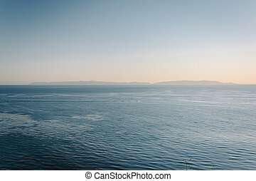 View of islands in the Pacific Ocean in Rancho Palos Verdes, Cal