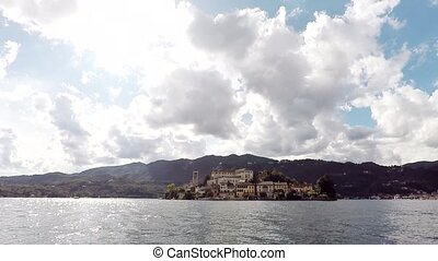 View of Isola San Giulio from the water. Italy.
