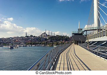 View of Istanbul from the bridge over the Golden Horn