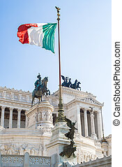 View of Italian national flag in fr