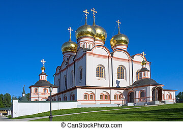View of Iver Cathedral to Iversky Monastery, Russia.