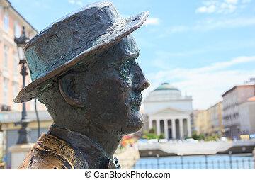 James Joyce statue, Trieste - View of James Joyce statue,...