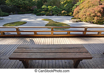 View of Japanese Sand Garden from Wooden Bench