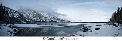 View of Jenny Lake in the Grand Tetons during winter