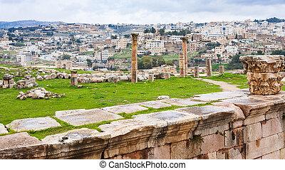 view of Jerash city and ancient Gerasa town
