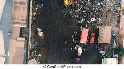 Aerial view of junkyard 4k