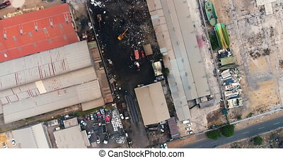 View of junkyard 4k - Aerial view of junkyard 4k