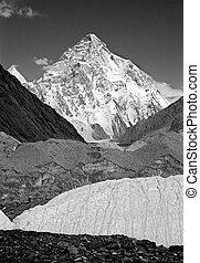 View of K2, Chogori peak (8611 m) from Baltoro glacier in ...