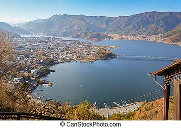 View of Kawaguchi lake and village seen from Kawaguchiko Tenjoyama Park Mt. Kachi Kachi Ropeway
