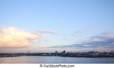 View of Kazan - Millenium bridge at autumn dusk, wide angle