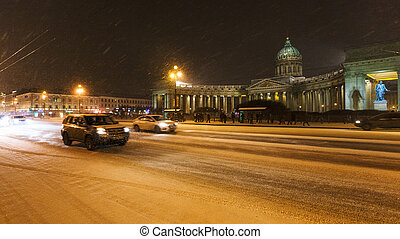 view of Kazansky Cathedral in night snowfall - view of ...
