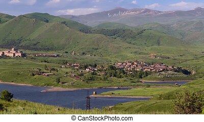 View of Kechut village and reservoir in Vayots Dzor region...