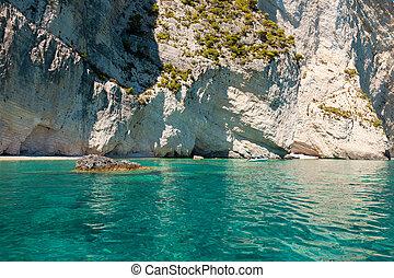 View of Keri blue caves in Zakynthos (Zante) island, in...