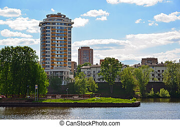 View of Khimki city from side of Moscow Canal. Russia. - ...