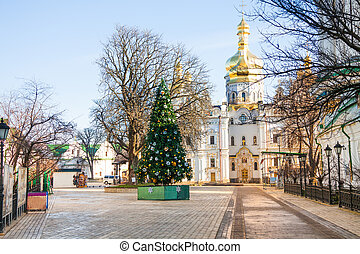View of Kiev Pechersk Lavra with new year tree - View of...